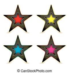 metall, sechseck, stern, auszeichnung