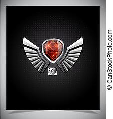 metall, skydda, emblem, med, wings.