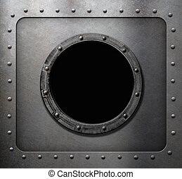 metall, undervattensbåt, eller, skepp, hyttventil, fönster