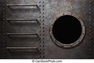 metall, undervattensbåt, eller, skepp, sida, med, trappa, och, hyttventil