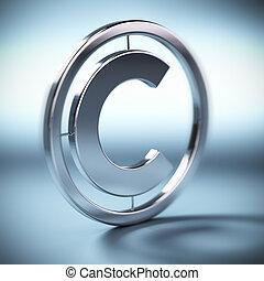 metall, upphovsrätt symbol, upp på, a, blåttbakgrund,...