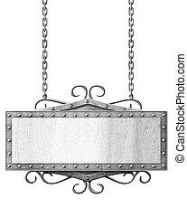 metall, vägmärke, hängande, ker, isolerat