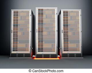 metall, zimmer, server