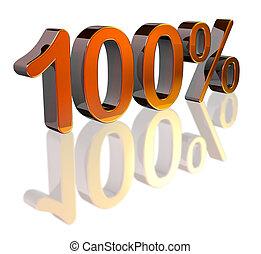 Metallic 100% symbol - Metallic 3D 100% text with reflection