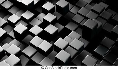 Metallic 3D boxes. Loopable abstract background.