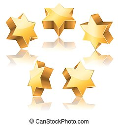 metallic 3d golden star of David with reflection set