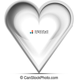 Metallic 3d vector heart love concept