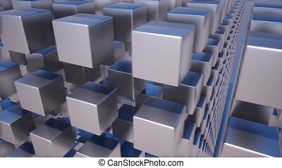 Metallic abstract cubes boxes 3d animation