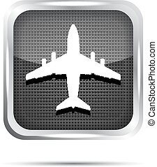 metallic airplane icon on a white