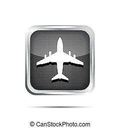 metallic airplane icon on a white background