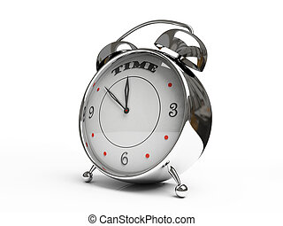 Metallic alarm clock isolated on white background 3D