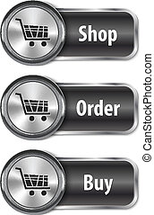 Metallic and glossy web elements/buttons for online shopping
