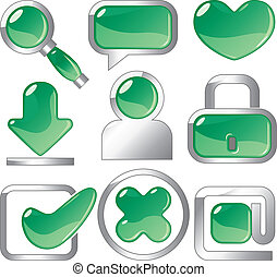 Metallic and green icons