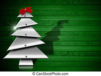 Metallic Merry Christmas tree with screws heads on green wood background