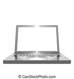 Metallic angled laptop object on white background
