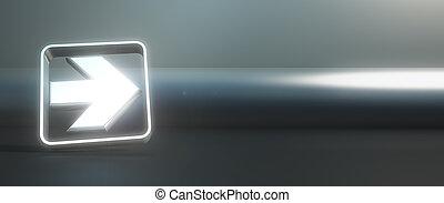 Metallic arrow on black background