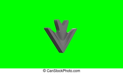metallic arrow on green background. Isolated 3D render