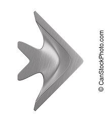 metallic arrow on white background. Isolated 3D illustration