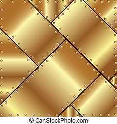 Metallic background of gold plates