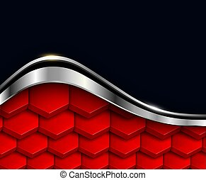 Metallic background red and black