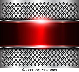 Metallic background silver red