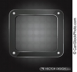 Metallic background with glass framework. Vector illustration.