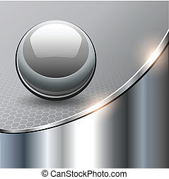 Metallic background with glass sphere, vector 3D ...