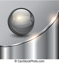 Metallic background with glass sphere, vector 3D illustration..