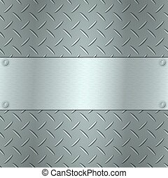 Metallic background with tread plate texture and steel...