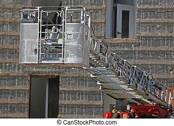 metallic basket of fire truck engine