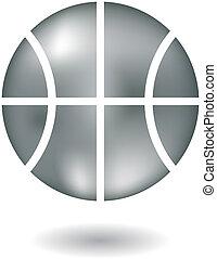 Glossy line art metallic basketball isolated on white