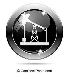 Metallic black glossy icon - Metallic round glossy icon with...
