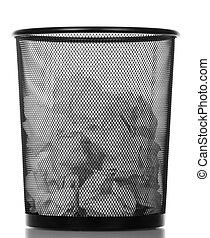 Metallic black trash can isolated on white.