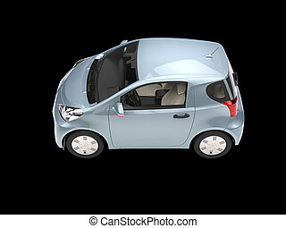 Metallic blue compact urban car on black background - side view