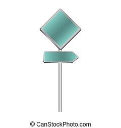 metallic blue diamond shape traffic sign with direction board set