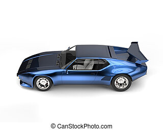 Metallic blue eighties sports race car
