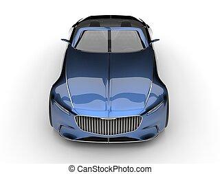 Metallic blue modern convertible concept car - front view