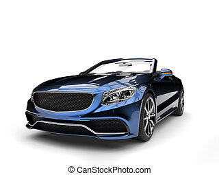 Metallic blue modern luxury convertible car