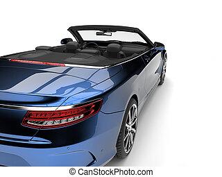 Metallic blue modern luxury convertible car - taillight cut shot