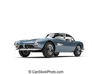 Metallic blue vintage sports car