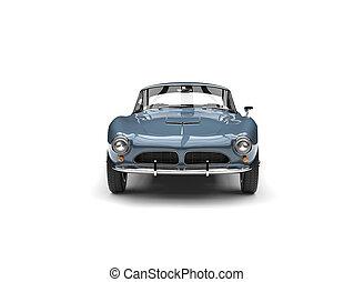 Metallic blue vintage sports car - front view