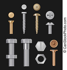 Metallic bolts and screws. Construction hardware silver repair tools. Vector realistic templates isolated