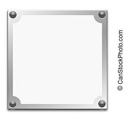 Metallic border frame on white background