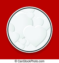 Metallic border with white hearts on red