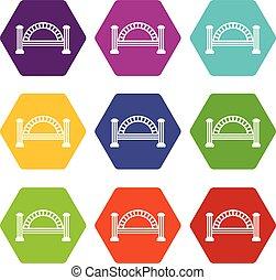 Metallic bridge icons set 9 vector