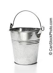 Metallic bucket isolated on white background