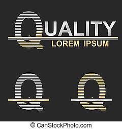 Metallic business font logo design - letter Q (quality)