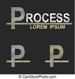 Metallic business logo font design - letter P (process)