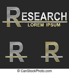 Metallic business logo font design - letter R (research)