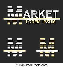 Metallic business symbol font design - letter M (market)